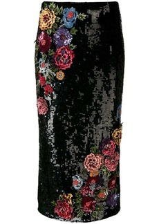 Alice + Olivia floral-appliquéd sequinned skirt