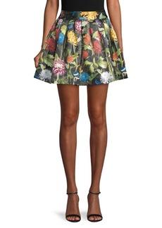 Alice + Olivia Floral Box-Pleat Mini Skirt