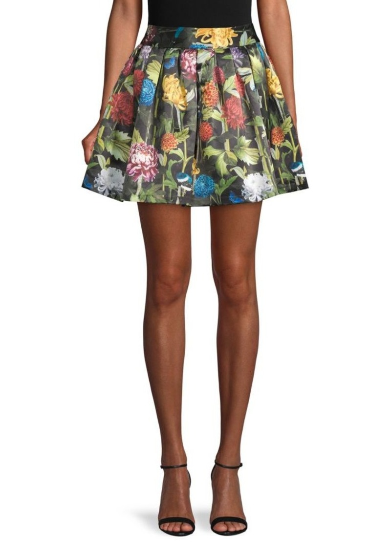 Alice + Olivia Floral Box-Pleat Mini Skirt