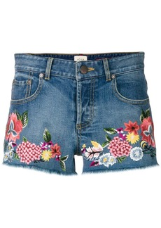 Alice + Olivia floral embroidered denim shorts