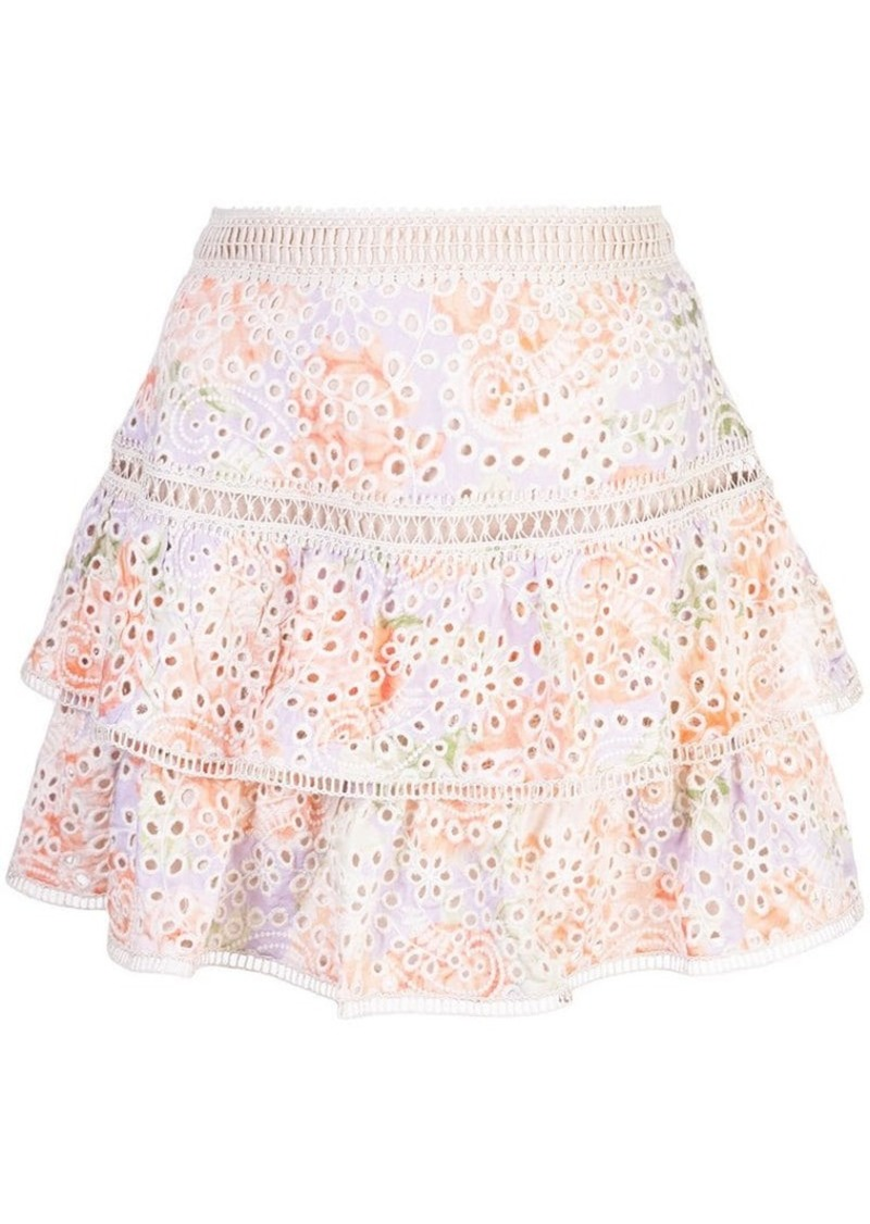 Alice + Olivia floral embroidered ruffle skirt