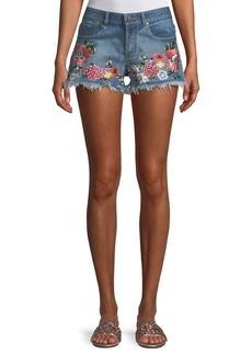 Alice + Olivia Floral-Embroidered Vintage-Inspired Denim Shorts