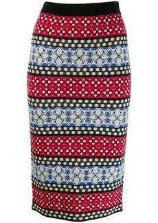 Alice + Olivia floral knitted midi skirt