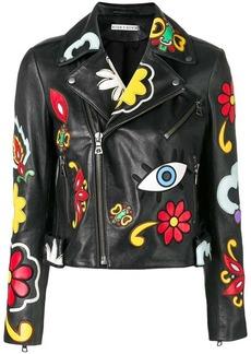 Alice + Olivia floral patch biker jacket