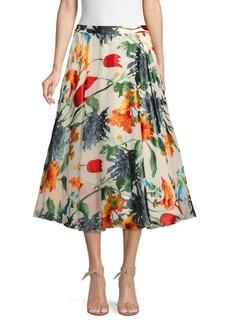 Alice + Olivia Floral-Print Midi Skirt