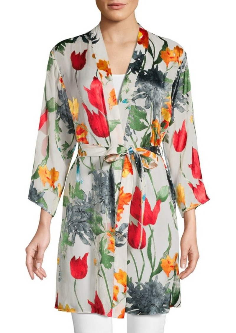 Alice + Olivia Floral Three-Quarter Sleeve Kimono Top