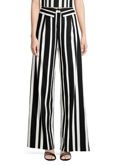 Alice + Olivia Foldover Striped Wide-Leg Pants