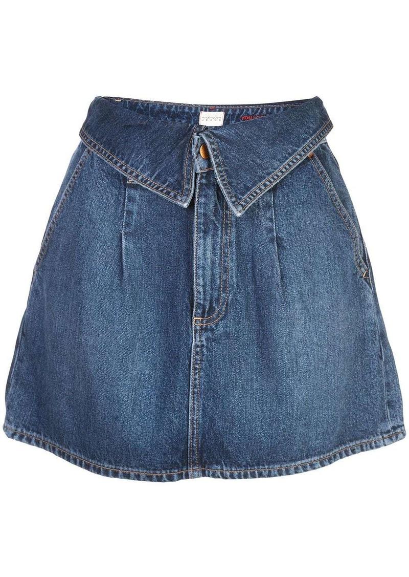 Alice + Olivia foldover waist denim skirt