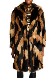 Alice + Olivia Foster Long Faux-Fur  Coat
