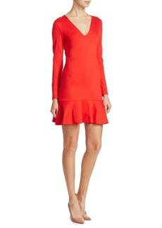 Alice + Olivia Francine V-Neck Ruffle Hem Fit-&-Flare Dress
