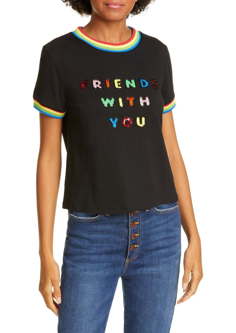 Friends With You x Alice + Olivia Rylyn Sequin Cotton Tee