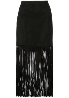 Alice + Olivia fringed mid-calf skirt
