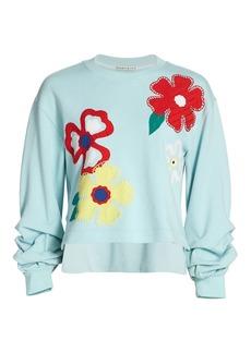Alice + Olivia Gaia Embroidered Step Sweatshirt