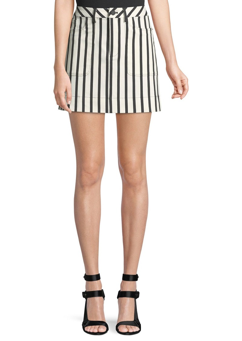 Alice + Olivia Gail Striped Patch-Pocket Mini Skirt