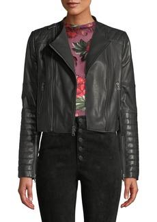 Alice + Olivia Gamma Collarless Leather Biker Jacket