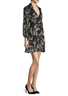 Alice + Olivia Gaston Blouson Sleeve Stretch Silk Wrap Dress