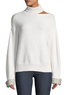 Alice + Olivia Gemini Shoulder-Cutout Embellished Turtleneck Sweater