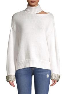 Alice + Olivia Gemini Turtleneck Cut-Out Sweater