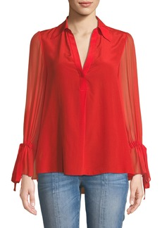 Alice + Olivia Geraldine Bow-Sleeve Collared Tunic