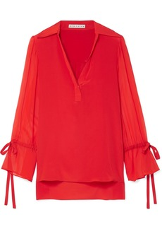 Alice + Olivia Geraldine Silk Crepe De Chine And Georgette Blouse