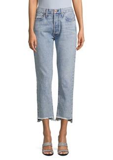 Alice + Olivia Girlfriend Slim-Leg Cropped Jeans
