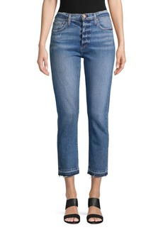 Alice + Olivia Girlfriend Slim-Leg Cropped Jeans