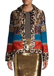 Alice + Olivia Glennie Faux-Fur Patchwork Jacket
