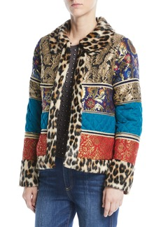 Alice + Olivia Glennie Patchwork Coat w/ Leopard Faux-Fur Combo