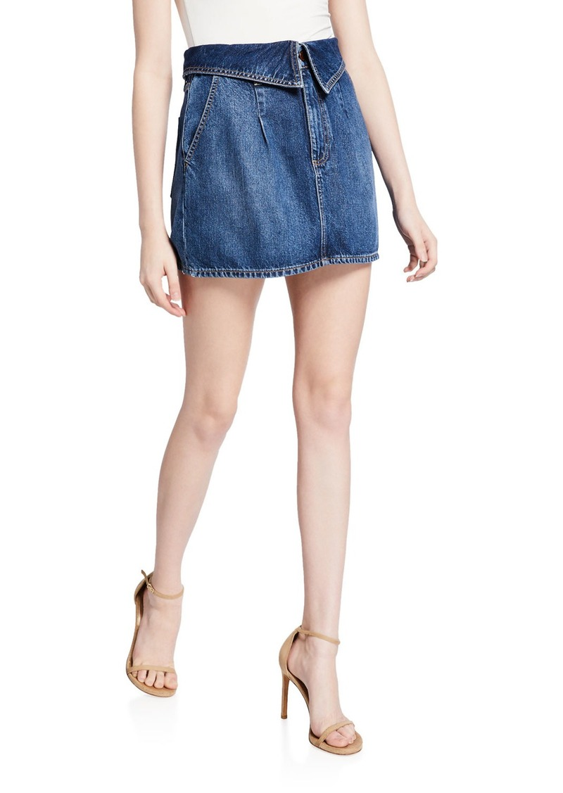 Alice + Olivia Good Fold-Over Pleated Mini Skirt