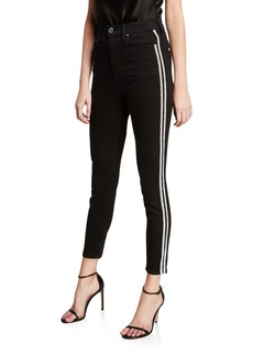 Alice + Olivia Good High-Rise Ankle Jeans with Crystal Stripes