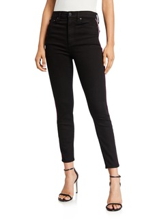 Alice + Olivia Good High-Rise Ankle Skinny Jeans with Piping