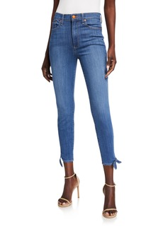Alice + Olivia Good High-Rise Ankle-Tie Jeans