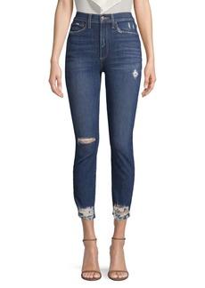 Alice + Olivia Good High-Rise Distressed SkinnyJeans