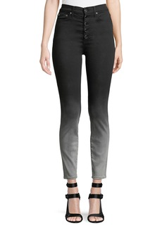 Alice + Olivia Good High-Rise Faded Skinny Jeans with Exposed Fly
