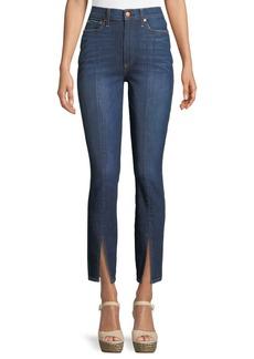 Alice + Olivia Good High-Rise Front-Split Skinny Jeans