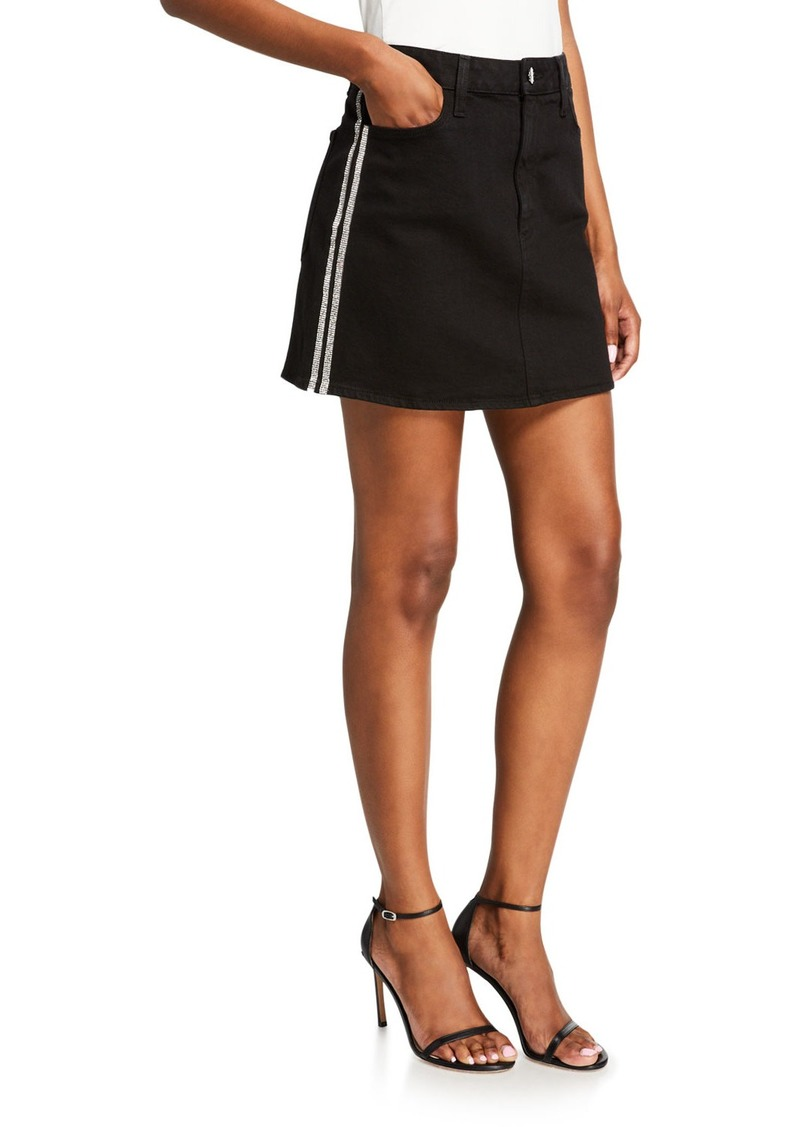 Alice + Olivia Good High-Rise Mini Skirt w/ Crystal Stripes