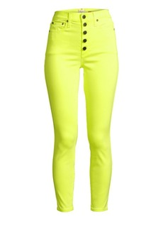 Alice + Olivia Good High-Rise Neon Button Fly Skinny Ankle Jeans