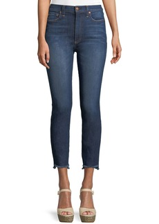 Alice + Olivia Good High-Rise Skinny Jeans with Staggered Hem