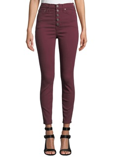 Alice + Olivia Good High-Rise Twill Skinny Jeans with Exposed Fly