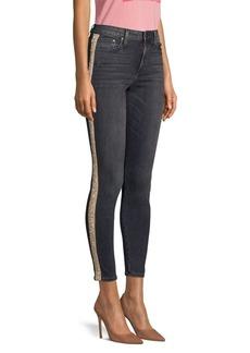 Alice + Olivia Good Mid-Rise Skinny Crystal Jeans