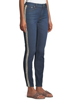 Alice + Olivia Good Mid-Rise Skinny Jeans with Crystal Stripes