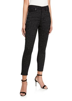 Alice + Olivia Good Sequined High-Rise Ankle Jeans
