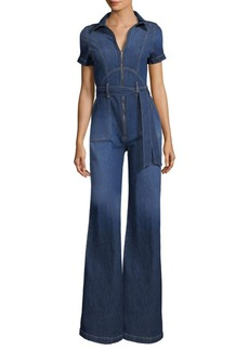 Alice + Olivia Gorgeous Collar Wide-Leg Jumpsuit