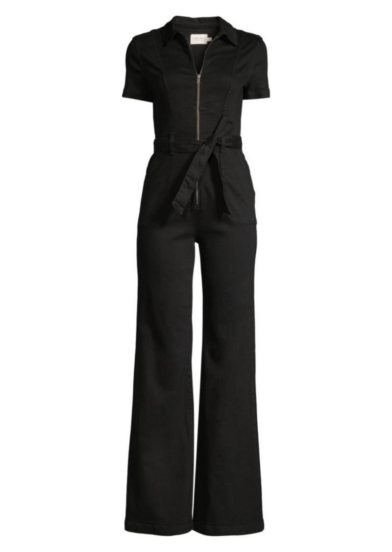 Alice + Olivia Gorgeous Short-Sleeve Flare Zip Jumpsuit