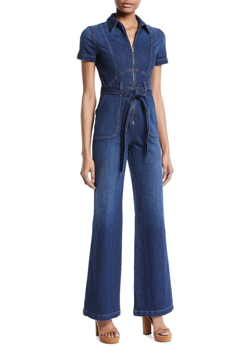 Alice + Olivia Gorgeous Wide-Leg Fitted Denim Jumpsuit