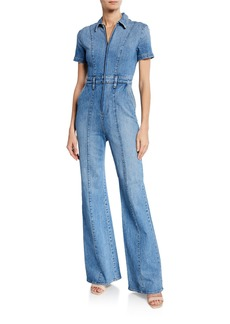 Alice + Olivia Gorgeous Wide-Leg Fitted Denim Zip Jumpsuit