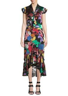 Alice + Olivia Greta Ruffle-Hem Midi Dress