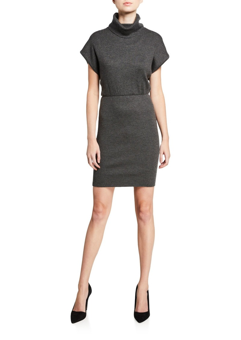 Alice + Olivia Hailee Turtleneck Blouson Dress