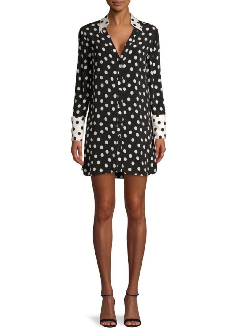 Alice + Olivia Halima Polka Dot French-Cuff Shirtdress