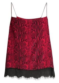 Alice + Olivia Harmon Snakeskin-Print Silk Camisole